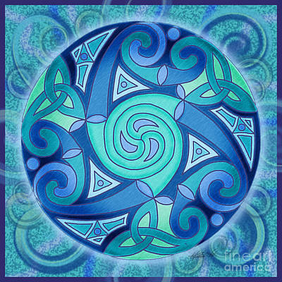 Poster featuring the mixed media Celtic Planet by Kristen Fox