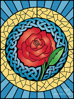 Poster featuring the mixed media Celtic Rose Stained Glass by Kristen Fox