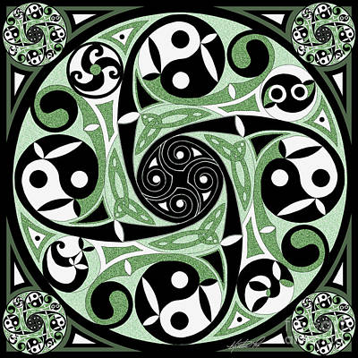 Poster featuring the mixed media Celtic Spiral Stepping Stone by Kristen Fox