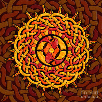 Poster featuring the mixed media Celtic Sun by Kristen Fox