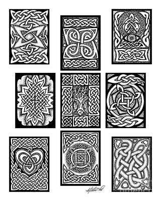 Poster featuring the drawing Celtic Tarot Spread by Kristen Fox