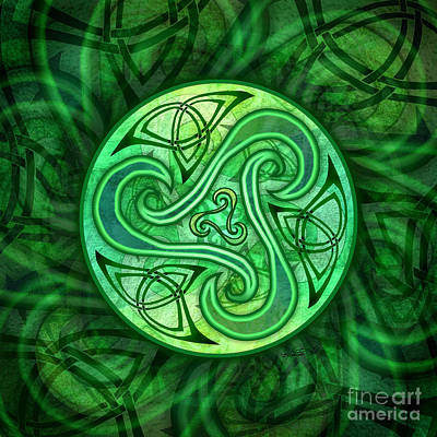 Poster featuring the mixed media Celtic Triskele by Kristen Fox