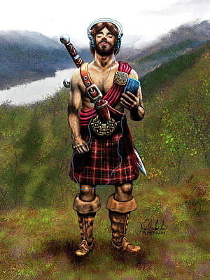 Celtic Warrior With An Ipod Poster by Nigel Andreola