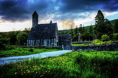 Cemetary Church At Glendalough Poster