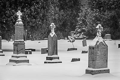 Cemetery In Snow Poster by Joan Carroll