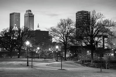 Poster featuring the photograph Centennial Park Black And White - Tulsa City Skyline by Gregory Ballos