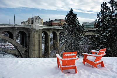 Centennial Trail Chairs - Spokane Poster by Daniel Hagerman