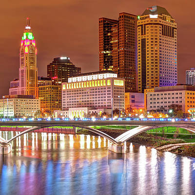 Center Panel 2 Of 3 - Columbus Ohio Skyline At Night Poster by Gregory Ballos