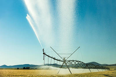 Center Pivot Irrigation Unit Spraying Water Poster by Todd Klassy