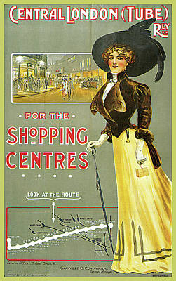 Central London Tube Railway Shopping Centre Poster by Edward Sharland