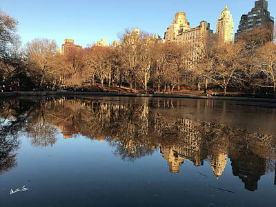 Poster featuring the photograph Central Park City Reflections by Madeline Ellis