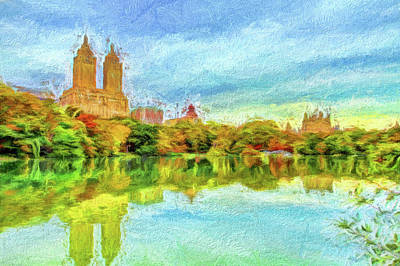 Central Park In Fall Poster by Geraldine Scull