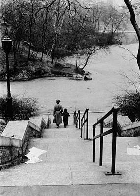 Central Park In Winter Poster by Nat Herz