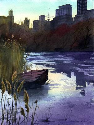 Poster featuring the painting Central Park Lake by Sergey Zhiboedov