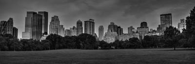 Central Park Skyline Pano 001 Bw Poster