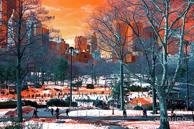 Central Park Snow Pop Art Poster by John Rizzuto