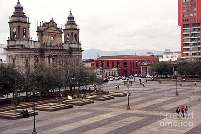Central Plaza And Metropolitan Cathedral Guatemala City Poster by Thomas R Fletcher