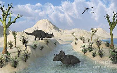 Centrosaurus Dinosaurs Relaxing Poster