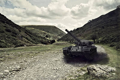 Centurion Tank In Valley Poster by Amanda Elwell