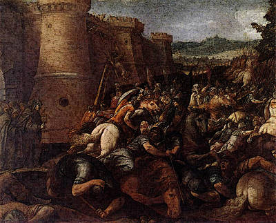 Cesari Giuseppe St Clare With The Scene Of The Siege Of Assisi Poster by Giuseppe Cesari