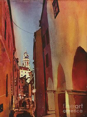 Cesky Krumlov Walk Home Poster by Ryan Fox