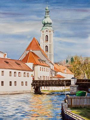 Cesky Krumlov Watercolor Poster by Michelle Wiarda