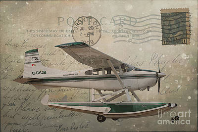 Cessna Skywagon 185 On Vintage Postcard Poster
