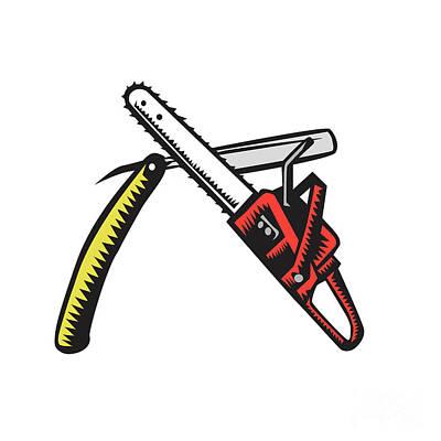 Chainsaw Straight Razor Crossed Woodcut Poster by Aloysius Patrimonio
