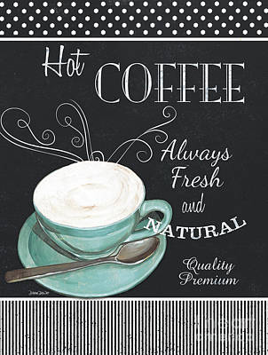 Chalkboard Retro Coffee Shop 1 Poster by Debbie DeWitt