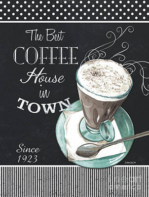 Chalkboard Retro Coffee Shop 2 Poster by Debbie DeWitt