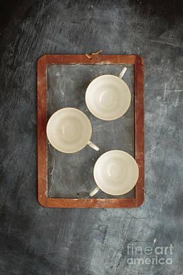 Challkboard Tea Cups Poster by Edward Fielding