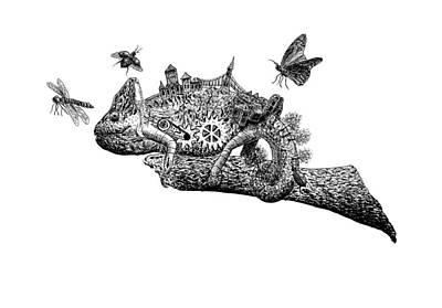 Chameleon On A Branch Poster by Uladzislau Shamela