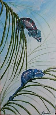 Chameleons On The Palm Trees Poster