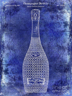 Champagne Bottle Patent Drawing Blue Poster by Jon Neidert