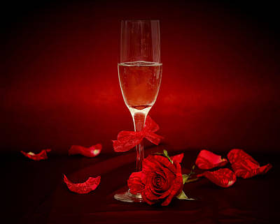 Champagne Glass With Red Roses And Petals Poster