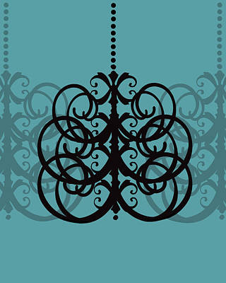 Poster featuring the photograph Chandelier Delight 2- Blue Background by KayeCee Spain