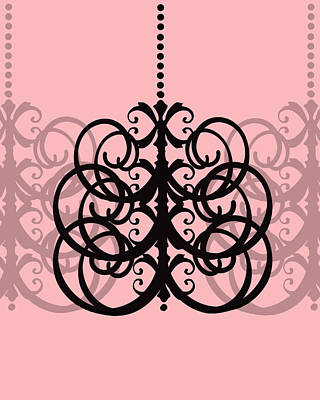 Poster featuring the photograph Chandelier Delight 2- Pink Background by KayeCee Spain