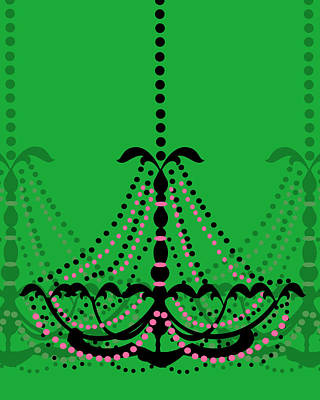 Poster featuring the photograph Chandelier Delight 3- Green Background by KayeCee Spain