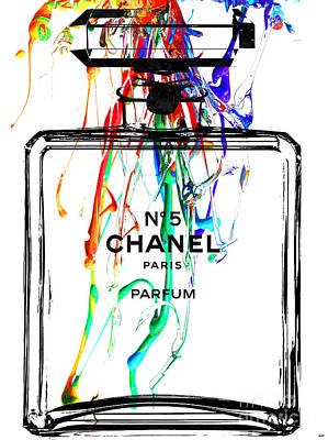 Chanel No. 5 Watercolor Poster by Daniel Janda