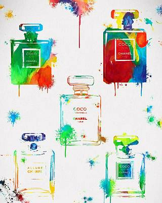 Chanel Perfume Paint Splatter Poster by Dan Sproul