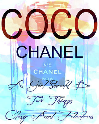 Chanel Watercolor Quote Poster