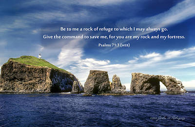 Channel Island National Park - Anacapa Island Arch With Bible Verse Poster