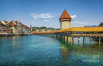 Chapel Bridge In Lucerne Poster by JR Photography
