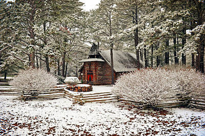Chapel In The Snow Poster by Marty Koch