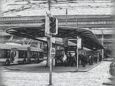 Charcoal Drawing The Station In Lucerne, Switzerland Poster
