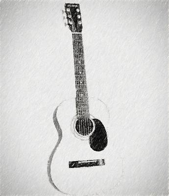 Charcoal Guitar Sketch Poster by Dan Sproul