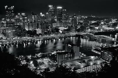 Charcoal Night Lights In Pittsburgh Poster