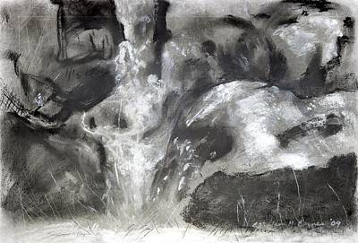 Charcoal Waterfall Poster