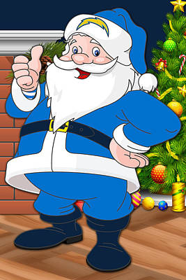 Chargers Santa Claus Poster