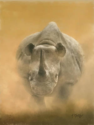 Charging Rhino Poster by Kathie Miller